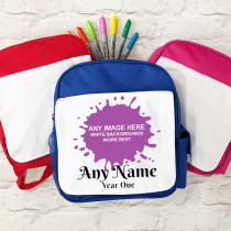 Personalised One Image Upload with Text - School Bag