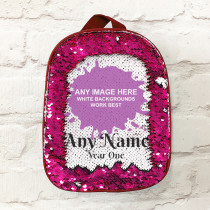 Personalised Any Image Upload with Text - Pink Sequin Lunch Bag