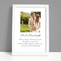 Personalised Photo Framed Art Print for Wedding Mr & Mrs with Message