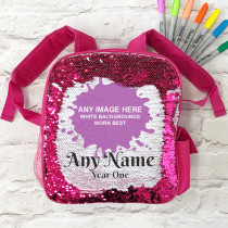 Personalised One Image Upload with Text - Sequin School Bag