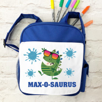 Personalised Dinosaur with Name Blue School Bag