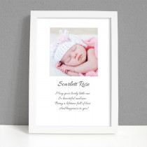 Personalised Photo Framed Art Print for Baby Girl with Message