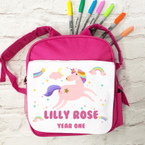 Personalised Unicorn Dancing on Rainbows with Name pink school bag
