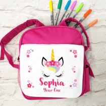Personalised Unicorn with Name School Bag in pink