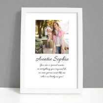 Personalised Photo Framed Art Print for Auntie with Message