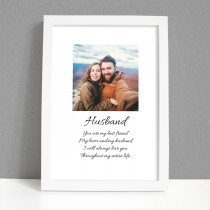 Personalised Photo Framed Art Print for Husband with Message