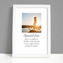 Personalised Photo Framed Art Print for Son with Message