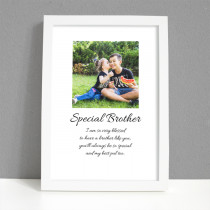 Personalised Photo Framed Art Print for Brother with Message
