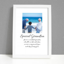 Personalised Photo Framed Art Print for Grandson with Message