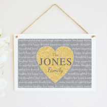 Personalised Christmas Family Heart Text Non Photo - Hanging Plaque