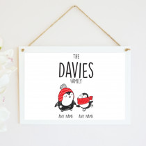 Personalised Christmas Penguin One Parent & Child - Hanging Plaque