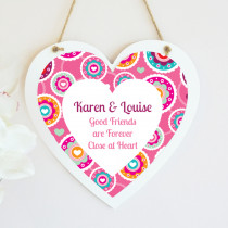 Personalised Bright Pink Floral Pattern Hanging Heart