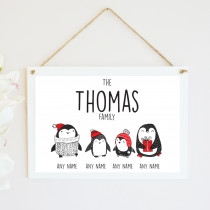 Personalised Christmas Penguin Two Children - Hanging Plaque