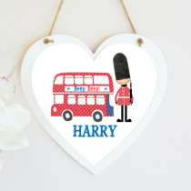 Personalised London Bus Hanging Heart