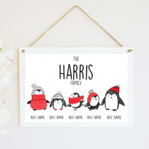 Personalised Christmas Penguin Three Children - Hanging Plaque