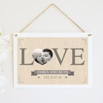 Personalised Photo Love Letters Hanging Plaque