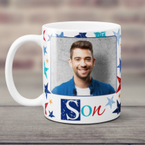 Personalised Grunge Star Son Photo Mug
