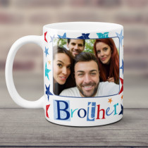 Personalised Grunge Star Brother Photo Mug