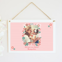 Personalised Floral Frame Photo Hanging Plaque