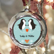 Personalised Penguin Couple - Christmas Bauble