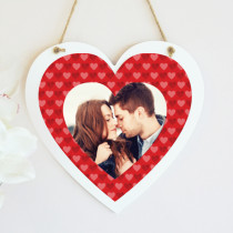 Personalised Photo Red Heart Pattern Hanging Heart