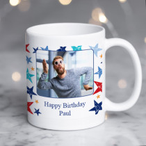 Personalised Grunge Star Happy Birthday Photo Mug