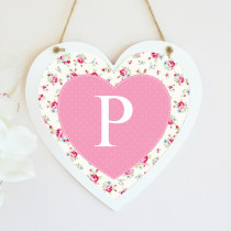 Personalised Rose Pattern Initial Hanging Heart