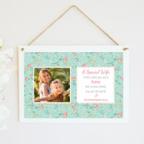 Personalised Wife And Mother Photo Hanging Plaque