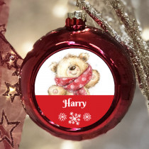 Personalised Bear - Christmas Bauble