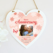 Personalised Sentimental Anniversary Photo Hanging Heart