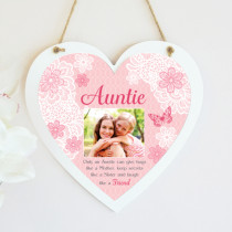 Personalised Sentimental Auntie Photo Hanging Heart
