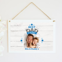 Personalised Best Dad In The World Photo Hanging Plaque