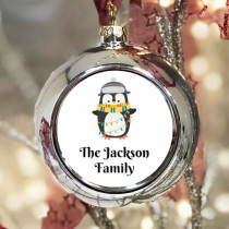Personalised Penguin Lights - Christmas Bauble