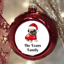 Personalised Pug - Christmas Bauble