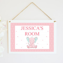 Pink Elephant - Hanging Plaque