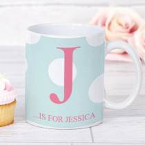 Personalised Large Pink Initial Polka Dot Mug