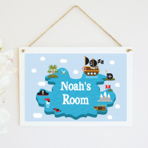 Personalised Pirate Island Hanging Plaque