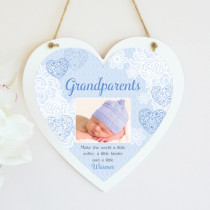 Sentiments Grandparents Blue - Hanging Heart With Photo Upload