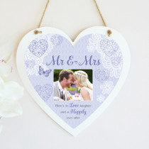 Personalised Sentimental Mr And Mrs Photo Hanging Heart