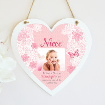 Personalised Sentimental Niece Photo Hanging Heart