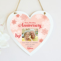 Personalised Sentimental Ruby Wedding Anniversary Photo Hanging Heart