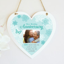 Personalised Sentimental Silver Wedding Anniversary Photo Hanging Heart