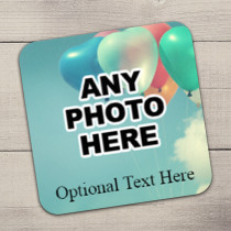 Personalised Photo Coaster With Text - One Photo Upload
