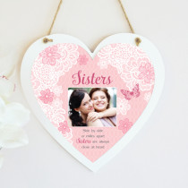 Personalised Sentiments Sister Photo Hanging Heart