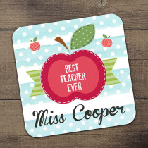 Personalised Teacher Apple - Single Coaster