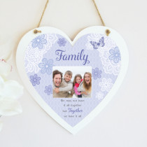 Sentiments Family Together - Hanging Heart With Photo Upload