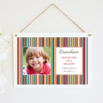 Personalised Grandson Photo Hanging Plaque