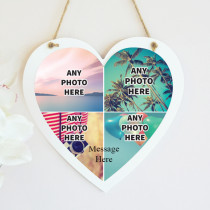 Personalised Photo Hanging Heart With Text - Four Photo Upload