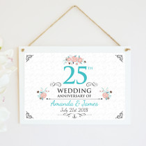 Personalised Silver Wedding Anniversary Hanging Plaque
