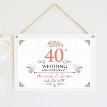 Personalised Ruby Anniversary Hanging Plaque